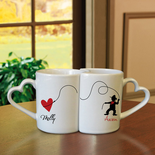 Personalized Interlocking Heart Mugs, Cowboy