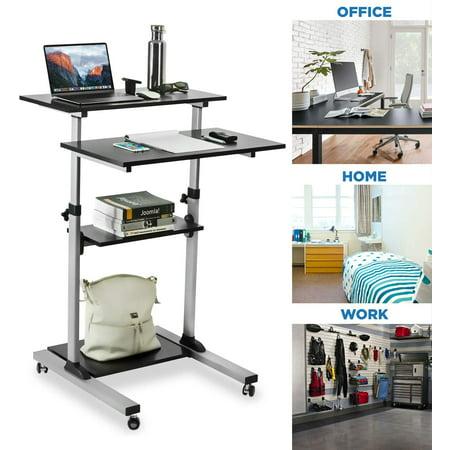 Ccdes Mobile Standing Desk/Height Adjustable Stand Up Computer Work Station   Rolling Presentation Cart with Wide Platform Oak Wide Computer Cart
