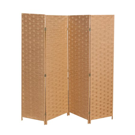 4 Panel Screen China - Wood Mesh Woven Design 4 Panel Folding Wooden Screen Room Divider