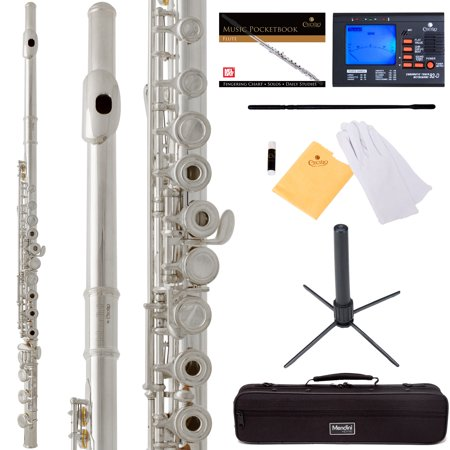 Mendini by Cecilio MFE-30S Silver 17 Keys Open Hole C Flute with Italian Pads, B Foot, Stand, Tuner, 1 Year Warranty, Case, Cleaning Rod, Cloth, Joint Grease, and