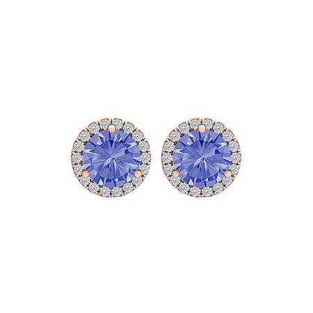 Round Tanzanite CZ Halo Stud Earrings 14K Gold Vermeil - image 2 de 2