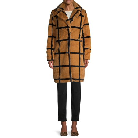Forever Audrey Women's Plaid Single-Button Faux Fur Coat Single Button Vest