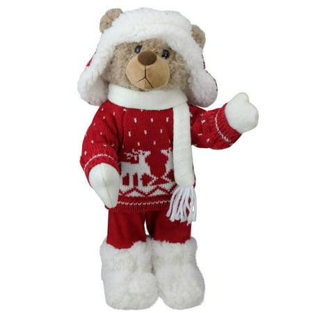 "14"" Retro Christmas Brown Winter Boy Bear in Deer Sweater Christmas Figure Decoration"