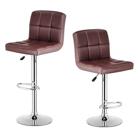 Western Leather Bar Stools - Costway Set Of 2 Bar Stools PU Leather Adjustable Barstool Swivel Pub Chairs Brown
