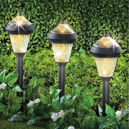 Collections Etc Sparkling Solar Stake Light with Cap - Set 3, Outdoor Garden Décor or Entry Pathway Lighting 3 Pathway Light