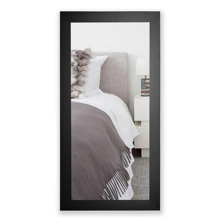 Rayne Mirrors American Made Rayne Satin Black Wide Full Length Floor/ Vanity Mirror - (Floor Length Train Satin)