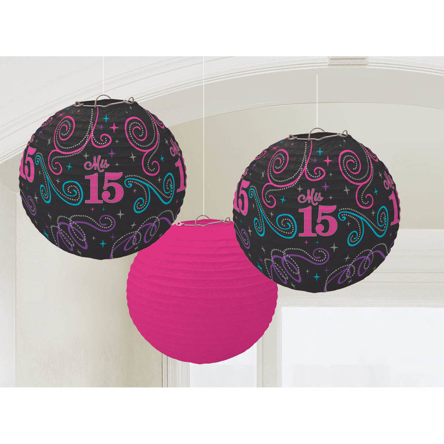 Mis Quince Anos Paper Lanterns, Set of 3