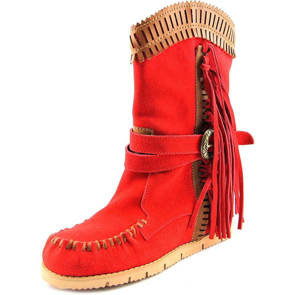 Mojo Moxy Nomad Mid Calf Women Round Toe Suede Red Mid Calf Boot by Mojo Moxy