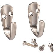 Mainstays, Single Satin Nickel Hooks, 2 Pack, Mounting Hardware Included, 10 lb Working Limit