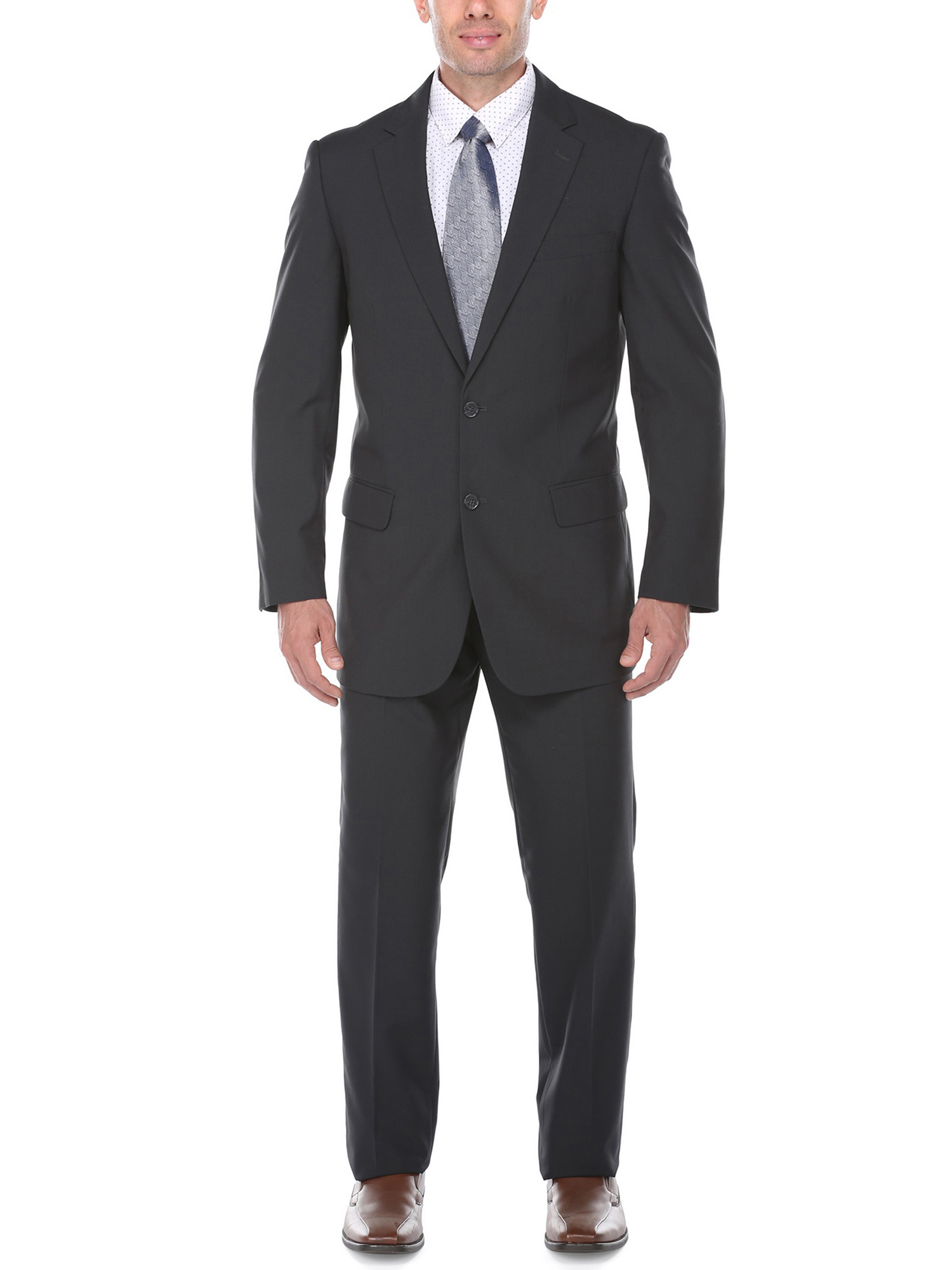 Men's Matte Black Birdseye Textured Classic Fit Italian Styled Two Piece Suit