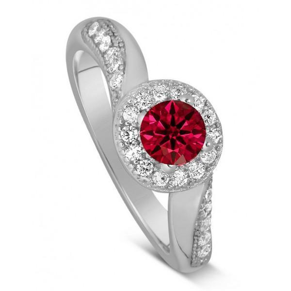 1.25 Carat Round Cut Real Ruby And Diamond