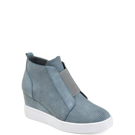Womens Athleisure Laser-cut Side-zip Sneaker Wedges ()