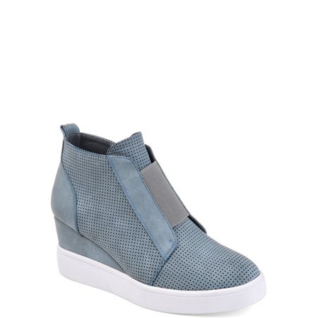 - Womens Athleisure Laser-cut Side-zip Sneaker Wedges
