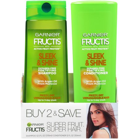 Garnier Fructis Sleek & Shine Shampoo & Conditioner 2 Pack, Frizzy, Dry, Unmanageable Hair, 2