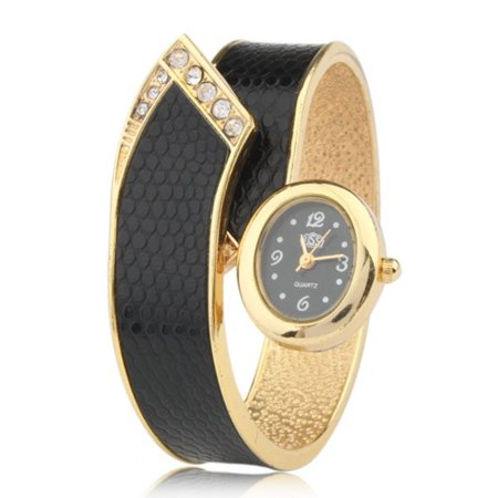 Alloy Black Case Bracelet Dial Modern Gold Fashion Women Quartz Watch Bangle Crystals Wrist Watch