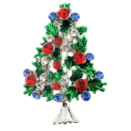 Fantasyard Silvertone Multi-colored Crystal Christmas Tree Brooch by Overstock