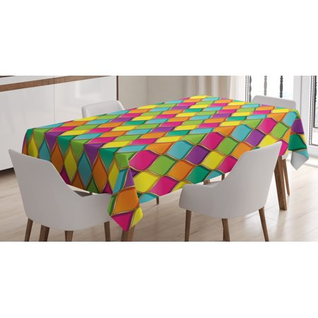 Geometric Tablecloth, Vivid Colored Stained Glass Style Pattern Wavy Lines Curves Oval Shapes Modern, Rectangular Table Cover for Dining Room Kitchen, 60 X 90 Inches, Multicolor, by (Shape Of Glasses For Oval Face)