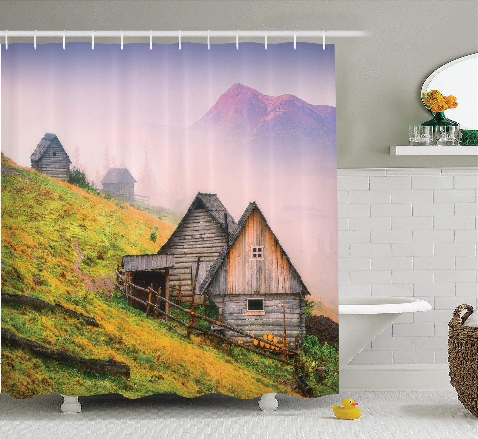 Farm House Decor Nature Wooden Houses In A Carpathian Mountains Ukraine Early Misty Morning Picture, Bathroom Accessories, 69W X 84L Inches... by Kozmos