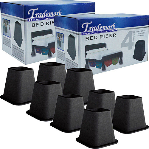 """As Seen on TV 6"""" Bed Risers, Black, Pack of 8"""