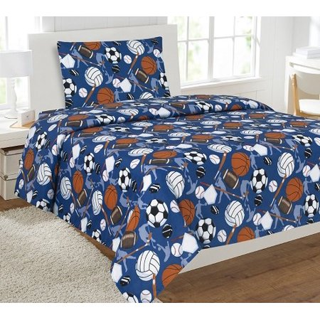 3pc sport hockey 2 kids microfiber twin size bedding bed set 1 flat 1 fitted sheet and 1. Black Bedroom Furniture Sets. Home Design Ideas