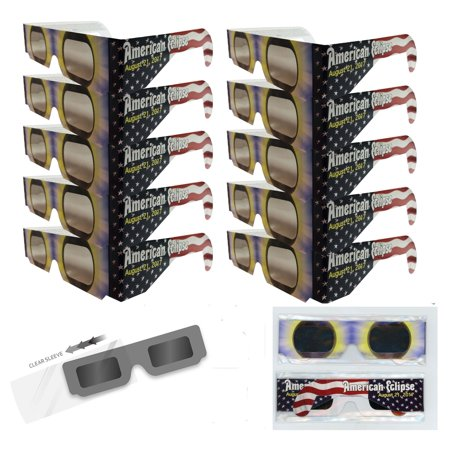 Solar Eclipse Glasses   Iso Certified  Ce Approved  10 Pairs Sleeved   American Flag Solar Shades Made In Us