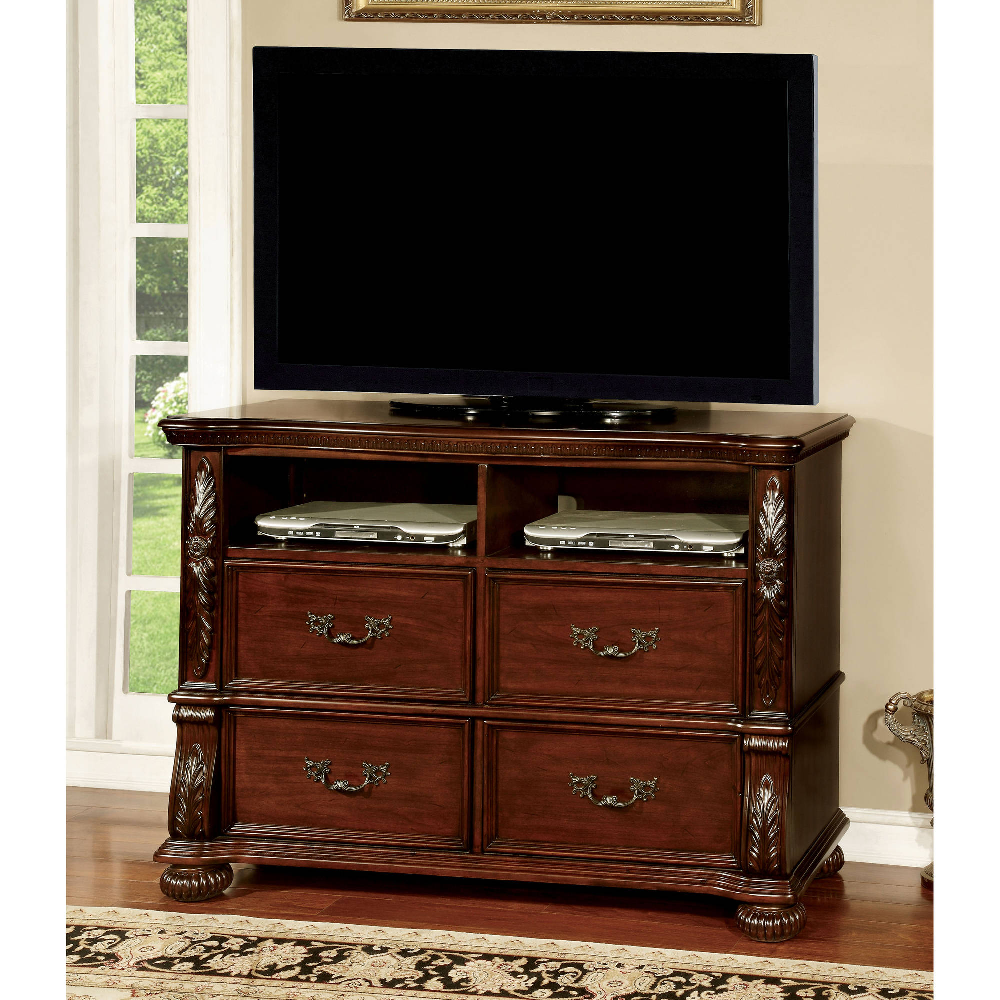 Furniture of America Hamlin Traditional Media Chest, Brown Cherry