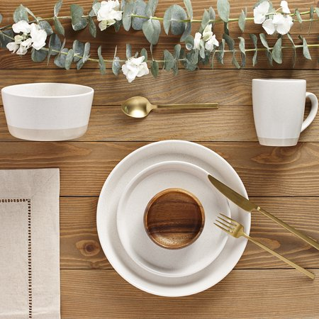 Safdie & Co. 16-Piece Dinnerware Set, Cream, 2 Tone - Overstock Dinnerware