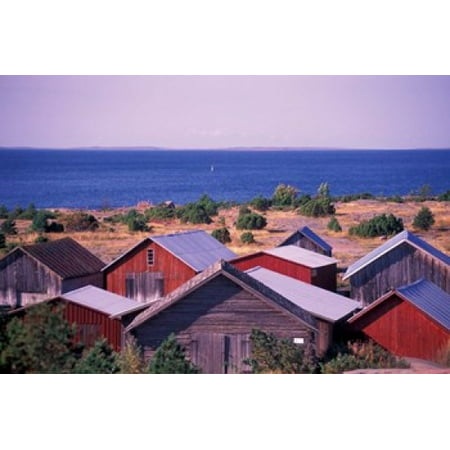 Boathouses of the Aland Islands Finland Canvas Art - Nik Wheeler DanitaDelimont (27 x 18)