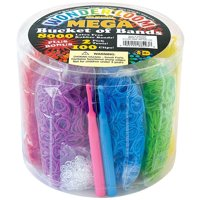 The Beadery Wonder Loom Mega Bucket of Bands with Tool, 8000 Pieces