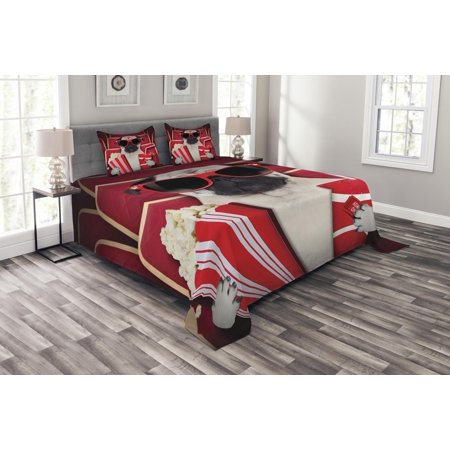 Pug Bedspread Set, Funny Dog Watching Movie Popcorn Soft Drink and Glasses Animal Photograph Print, Decorative Quilted Coverlet Set with Pillow Shams Included, Red Cream Ruby, by Ambesonne ()