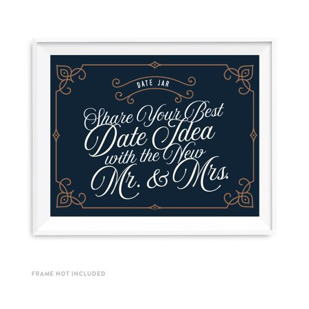 Navy Blue Art Deco Vintage Party Signs, Date Jar Share Your Best Date Idea With the New Mr. & Mrs. Sign,