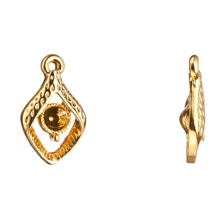 Charms, 16K Gold Finished Fancy Rhombus Crystal Setting 17.8x11mm Fits ss18 Swarovski Crystals