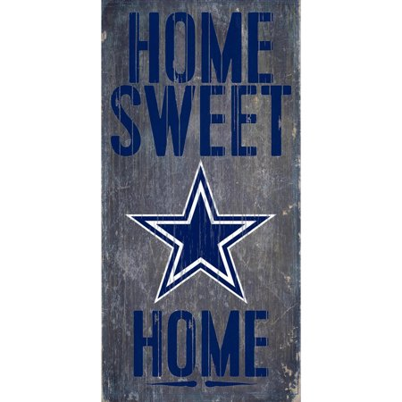 Dallas Cowboys Cabinet Style Wood (Dallas Cowboys 6'' x 12'' Home Sweet Home Sign - No)