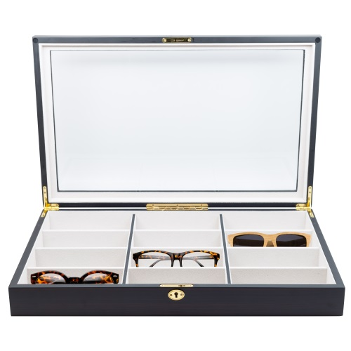 12 Piece Ebony Wood Eyeglass Display Case for Oversized S...