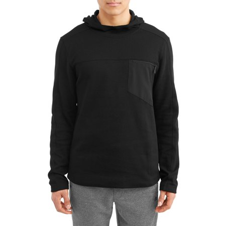 Men's Double Knit Pullover Hoodie with Woven Pocket Top ()