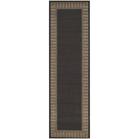 Couristan Black Saddle Stitch - Couristan Recife Wicker Stitch Rug, Black/Cocoa