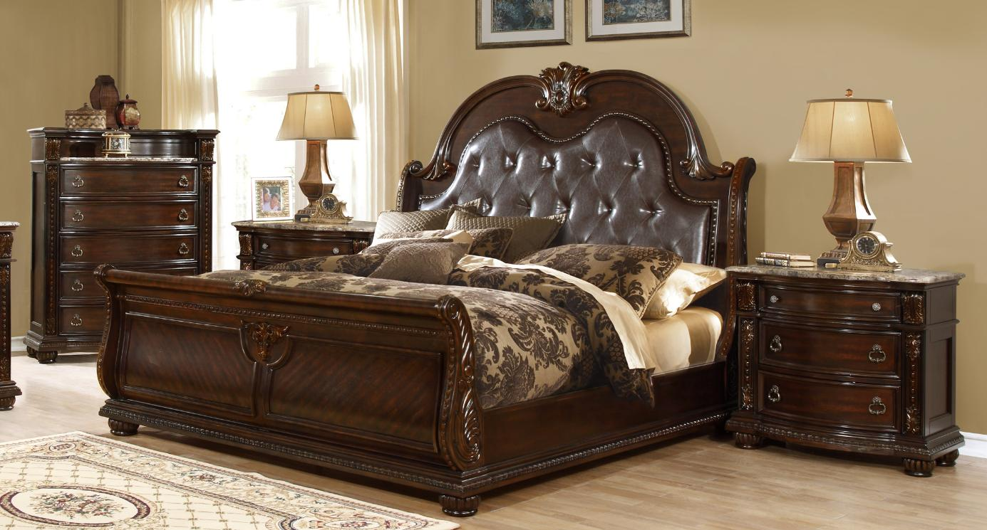 McFerran B9500 EK Amber Dark Cherry Finish Tufted Eastern King Bedroom Set  3Pcs   Walmart.com