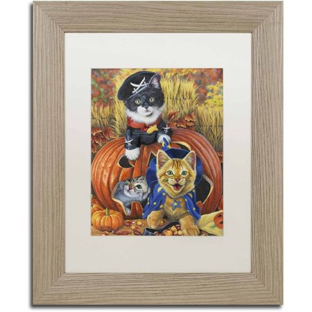 Trademark Fine Art 'Halloween Kittens' Canvas Art by Jenny Newland, White Matte, Birch Frame - Jenny Live Halloween