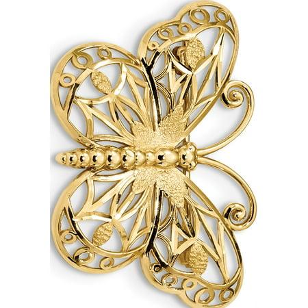 Designer Flowers Brooch - 14k Yellow Gold Diamond-cut Polished & Satin Butterfly Pin