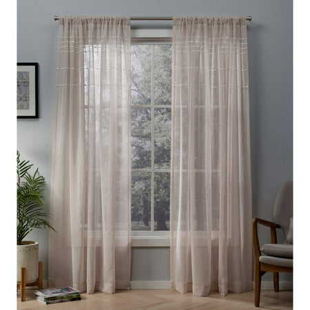 Exclusive Home Curtains 2 Pack Davos Puff Embellished Belgian Linen Sheer Rod Pocket Curtain - Line Sheer