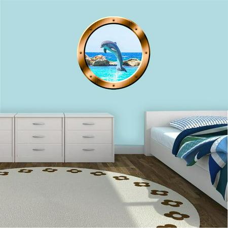 "VWAQ Dolphin Porthole Wall Decal 3D Sticker Porpoise Wall Decor - BP30 (20"" Diameter)"
