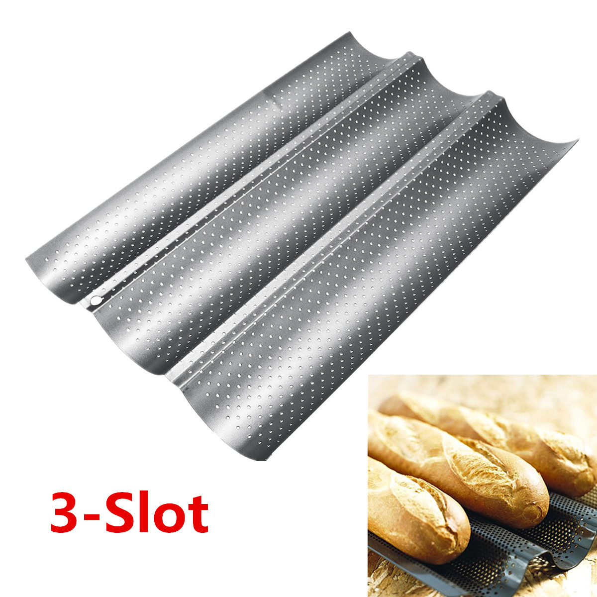 Non Stick 3/2-slot Wave French Bread Pan Baguette Baking Tray Baking Mould Mold