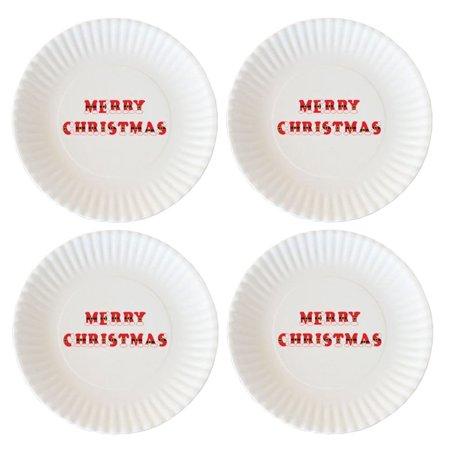 180 degrees set 4 merry christmas melamine appetizer plates unique letters are santa suits