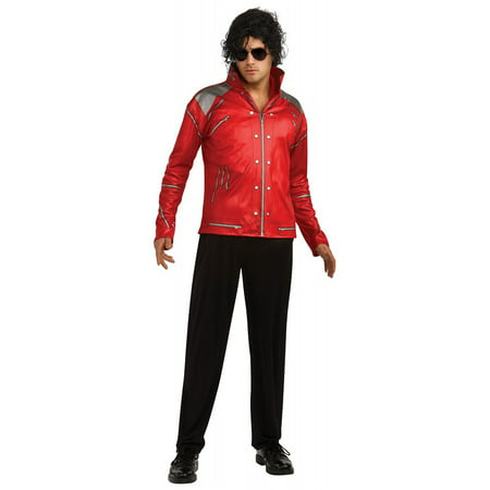 Michael Jackson Adult Costume Red & Silver Beat It Jacket - Large - Michael Jackson Makeup Halloween