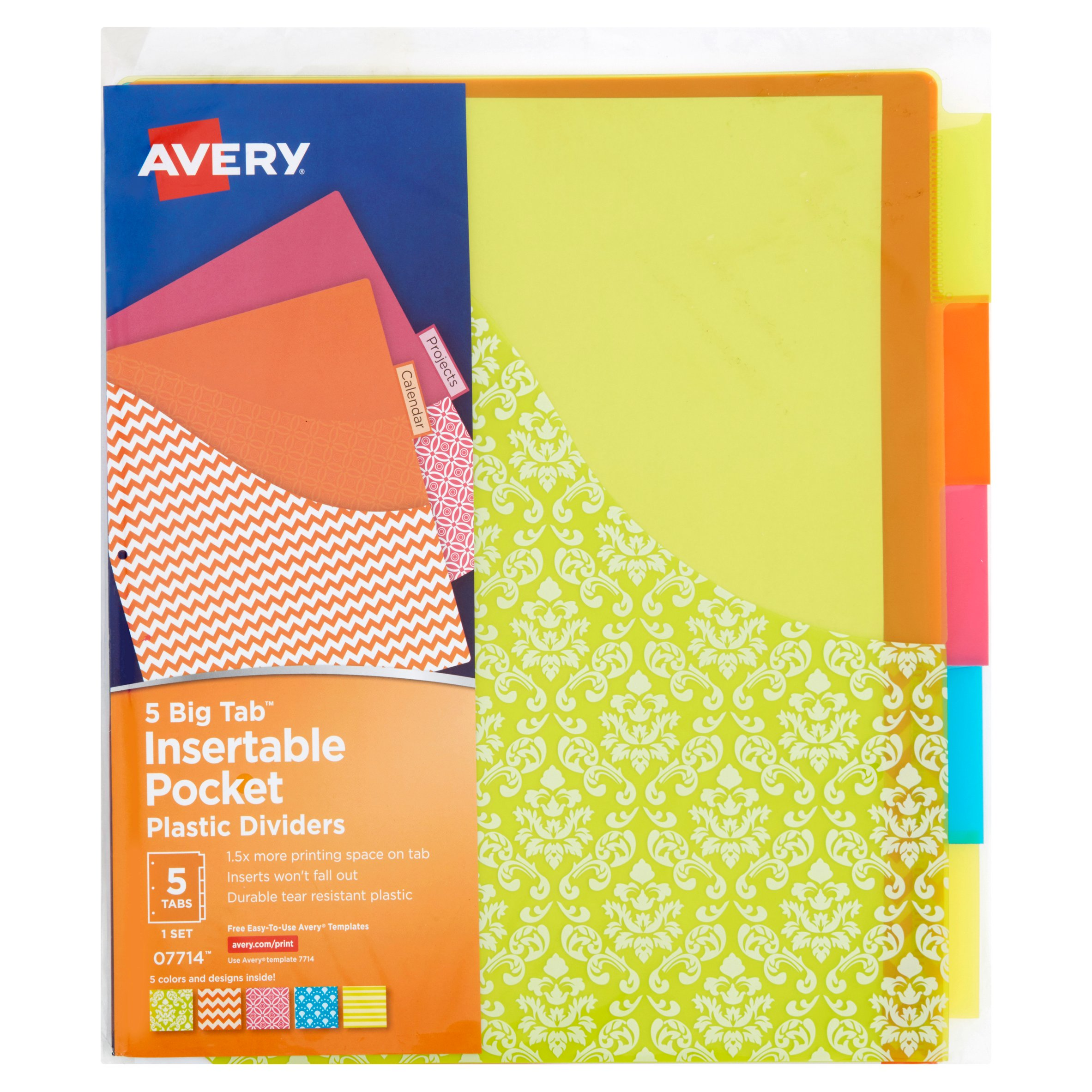 Avery(R) Big Tab(TM) Insertable Plastic Dividers with Pockets, Assorted Fashion Designs 5 Tabs, 1 Set (07714)