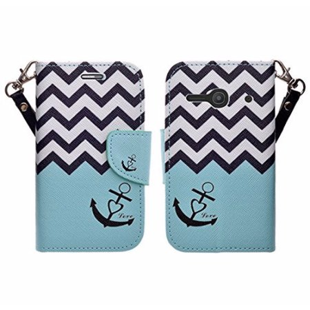 Onetouch Pixi Pulsar Case  Wrist Strap Flip Fold  Kickstand Feature  Pu Leather Wallet Case With Id   Credit Card Slots For Alcatel Onetouch Pixi Pulsar   Teal Anchor