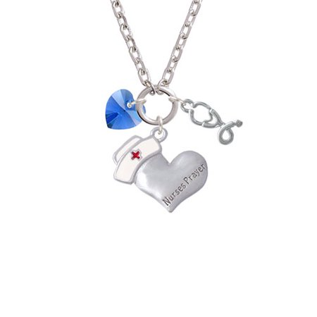 - Blue Crystal Heart Nurse's Prayer Heart and Stethoscope Zoe Necklace
