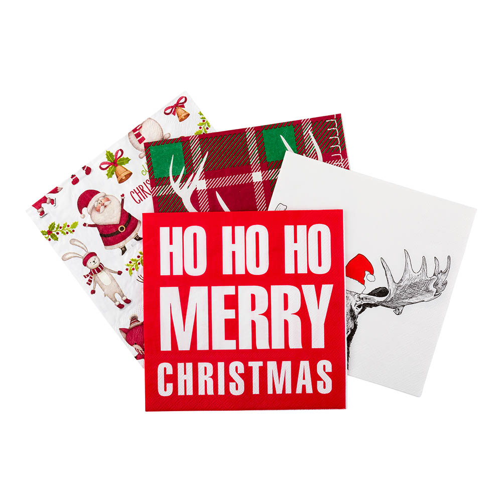 Merry in Red Disposable Lunch Paper Napkins 3-Ply 20 ct