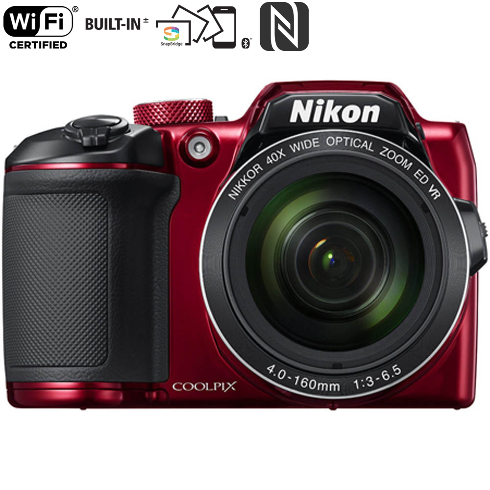 Nikon COOLPIX B500 16MP 40x Optical Zoom Digital Camera with wifi - Red  (Certified Refurbished)