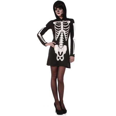 Skeleton Hooded Mini Dress Adult Womens Costume XS/S - Mini Costumes
